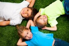 Jonge geitjes op gras Royalty-vrije Stock Afbeelding