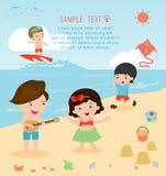 Jonge geitjes op het strand, kinderen die op het strand, de zomeractiviteiten spelen van kinderen Vector Illustratie