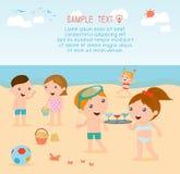 Jonge geitjes op het strand, kinderen die op het strand, de zomeractiviteiten spelen van kinderen Stock Illustratie