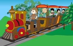 Jonge geitjes op trein Stock Afbeelding