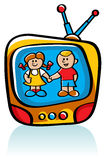 Jonge geitjes op TV Stock Foto's