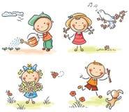 Jonge geitjes in openlucht in de lente royalty-vrije illustratie