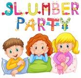 Jonge geitjes in pyjama's bij sluimerpartij vector illustratie