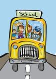 Jonge geitjes in Schoolbus Stock Fotografie
