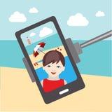Jonge geitjes selfie foto Mobiel beeld royalty-vrije illustratie