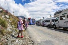 Jonge geitjes in Stip Jersey - Ronde van Frankrijk 2015 Stock Afbeeldingen