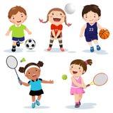Jonge geitjes van beeldverhaal diverse sporten op een witte achtergrond