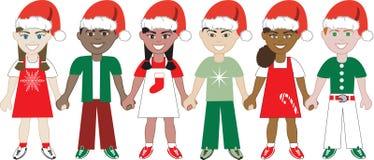 Jonge geitjes van Kerstmis verenigden 1 vector illustratie