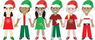 Jonge geitjes van Kerstmis verenigden 4 stock illustratie