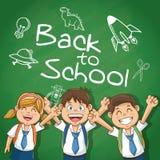 Jonge geitjes van terug naar schoolontwerp stock afbeeldingen