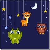 Jonge geitjesachtergronden Speelgoed die op een koord hangen Stock Fotografie