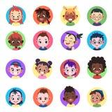 Jonge geitjesavatar De meisjes leiden avatars van gezichten etnische leuke jongens van het het portretkarakter van het kindprofie vector illustratie