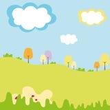Jonge geitjesgebied en grafische bossen met wolk stock illustratie