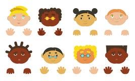 Jonge geitjesgezichten en handen Verschillende ethnics, stock illustratie