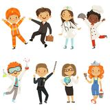Jonge jonge geitjesjongens en meisjes van verschillende beroepen stock illustratie