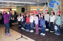 Jonge geitjeskerstmis het zingen gebeurtenis in Hongkong Royalty-vrije Stock Foto