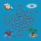 Jonge geitjeslabyrint De jagers van de labyrintschat Help het schip de manier aan het eiland vinden stock illustratie