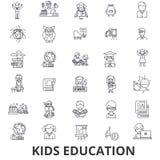 Jonge geitjesonderwijs, het leren, onderwijsachtergrond, school, de lijnpictogrammen van de onderwijstechnologie Editableslagen V royalty-vrije illustratie
