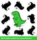 Jonge geitjesraadsel met een groene beeldverhaaldinosaurus Stock Foto