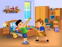 Jonge geitjesslaapkamer met twee jongens die instrumenten spelen Stock Afbeelding