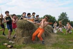 Jonge geitjesstrijden door houten wapen Royalty-vrije Stock Foto's