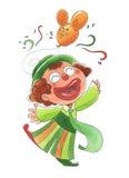 Jonge gelukkige clown Stock Afbeeldingen
