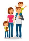 Jonge gelukkige familie met twee jonge geitjes Royalty-vrije Stock Afbeelding