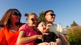 Jonge gelukkige familiezitting in het Park op een Zonnige de zomerdag, die zonnebril dragen stock afbeeldingen