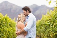 Jonge gelukkige man kussende vrouw op het voorhoofd royalty-vrije stock afbeeldingen