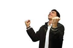 Jonge gelukkige mens stock afbeelding