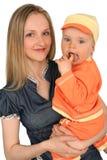 Jonge gelukkige moeder met babyjongen Stock Fotografie