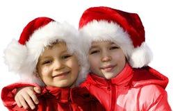 Jonge gelukkige Santas.   Stock Foto's