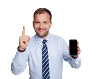 Jonge gelukkige succesvolle die zakenman op wit wordt geïsoleerd Stock Fotografie