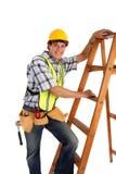 Jonge Gelukkige Timmerman met Ladders Stock Afbeeldingen