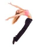 Jonge gelukkige vrouw die hoog springen Stock Afbeelding
