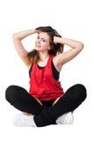 Jonge gelukkige vrouw klaar voor geschiktheid Stock Afbeeldingen