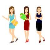 Jonge geplaatste meisjes Vector illustratie Stock Fotografie