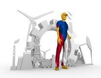 Jonge geplaatste mens en industriële isometrische pictogrammen Stock Foto's