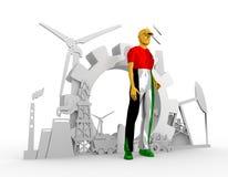 Jonge geplaatste mens en industriële isometrische pictogrammen Stock Foto