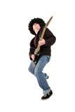 Jonge gitarist die een zwarte elektrogitaar speelt Royalty-vrije Stock Foto's