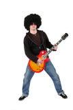 Jonge gitarist met een pruik en zonnebril Stock Afbeeldingen