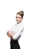 Jonge glimlachende bedrijfsvrouw Stock Foto's