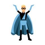 Jonge glimlachende gemaskeerde mens in een blauwe Illustratie van het superherokostuum Stock Afbeeldingen