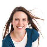 Jonge glimlachende vrouw Stock Foto's