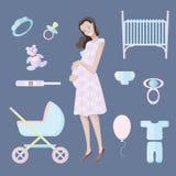 Jonge glimlachende vrouw die die een kind verwachten door speelgoed en punten van toekomstige substantie wordt omringd karakter V vector illustratie