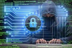 Jonge hakker in cybersecurty concept stock illustratie