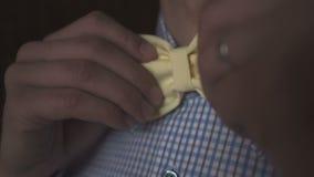 Jonge heer in plaidoverhemd en gele vlinderdas stock videobeelden