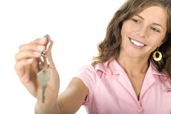 Jonge het huissleutels van de vrouwenholding Stock Foto