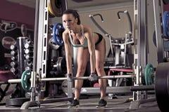 Jonge het Opheffen van de Vrouw Gewichten Stock Foto