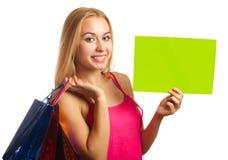 Jonge het tekenkaart van de vrouwengreep Stock Foto's